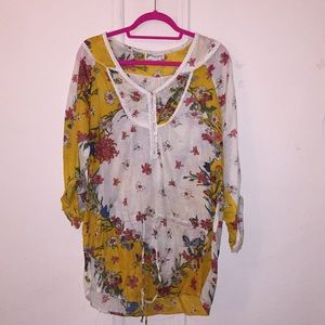 🌺Anthropology,🦋 multicolored🌿patterned tunic🌼